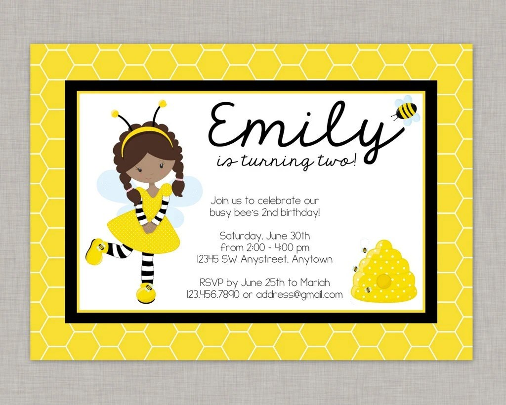 Bumble Bee Invitation Bee Invitation Bumble Bee Party