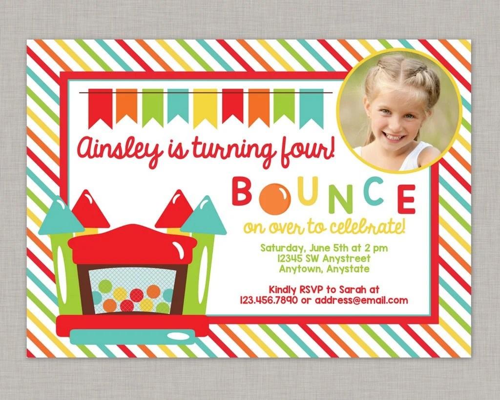 Bounce House Birthday Invitation Bounce House Invitation