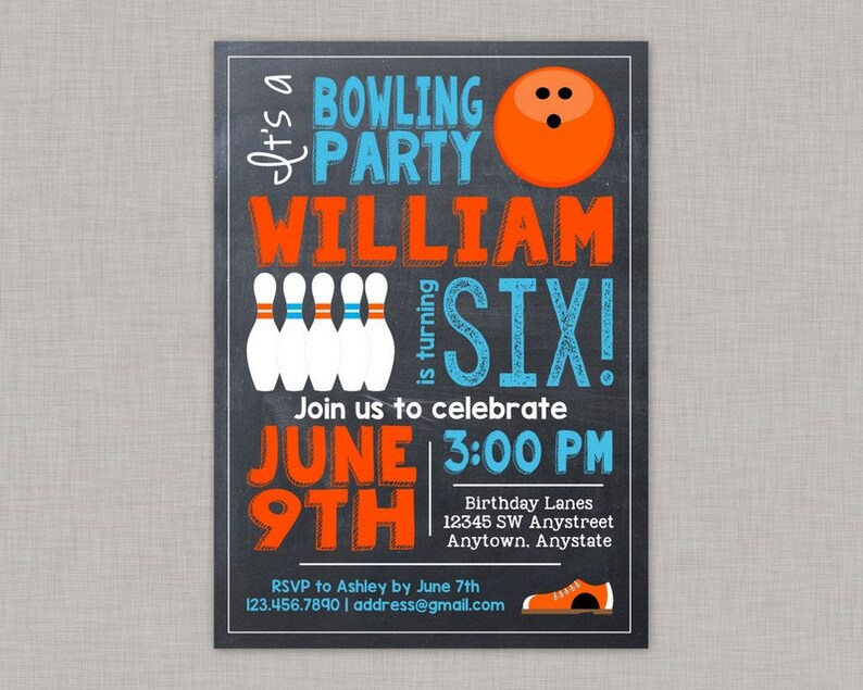 Bowling Invitation Bowling Party Invitation Bowling Birthday Etsy
