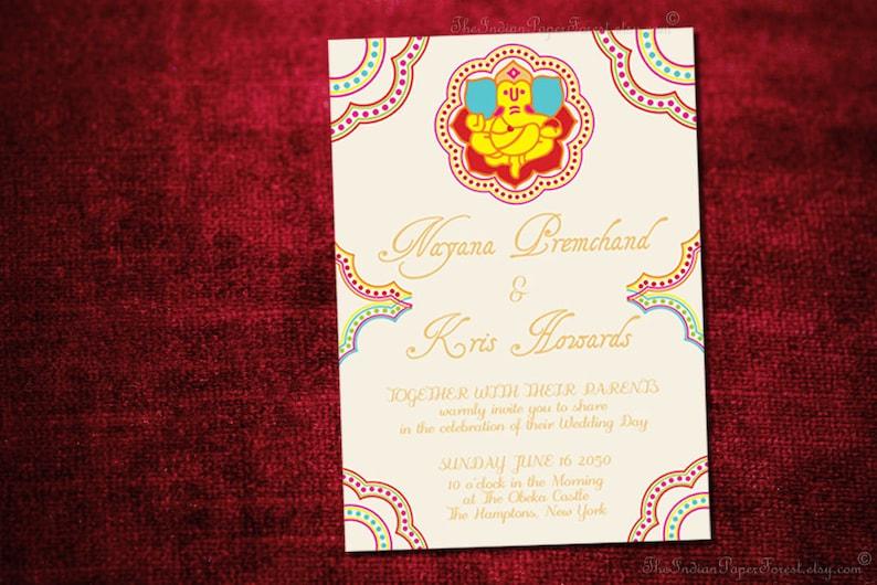 GANESHA Indian Wedding Invitation Design Card Engagement Party Etsy