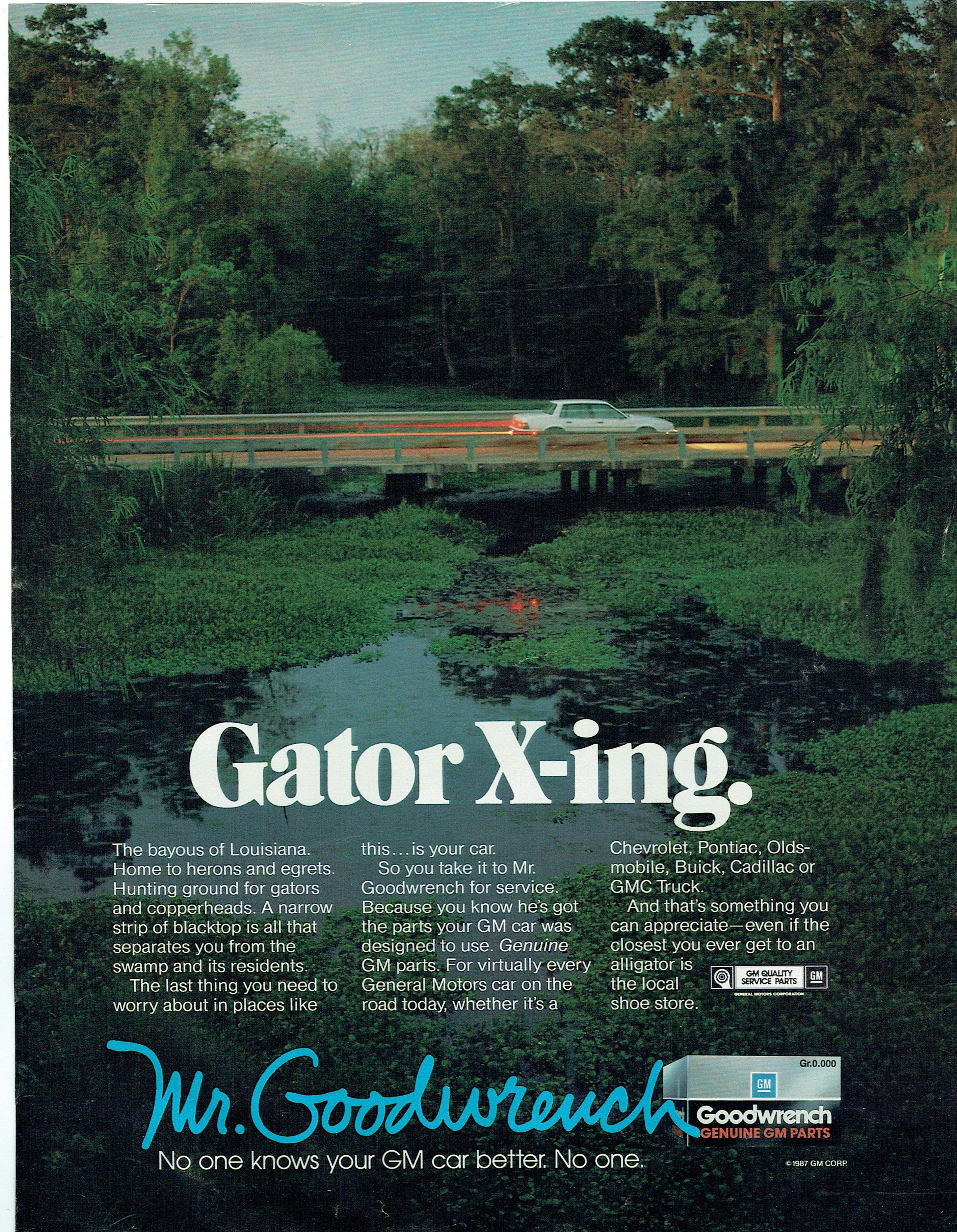 Gator Garage Pontiac Il 1988 Advertisement Mr Goodwrench Gm Mechanic Technician Tech Garage Gator Crossing Bayous Of Louisiana X Ing Us South Wall Art Decor