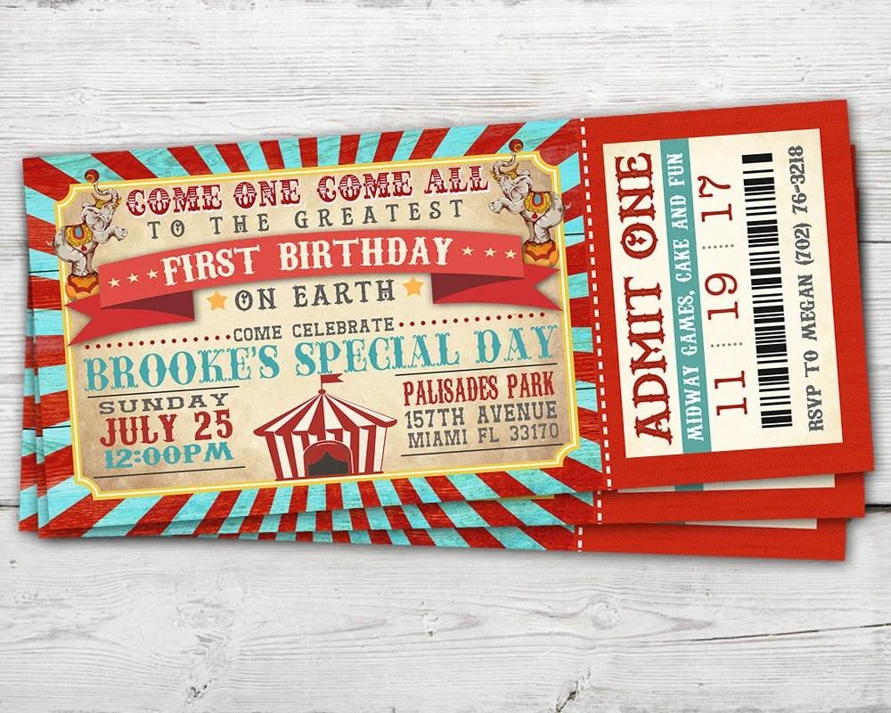 Circus Ticket Invitation Vintage Circus Invitation Vintage Etsy