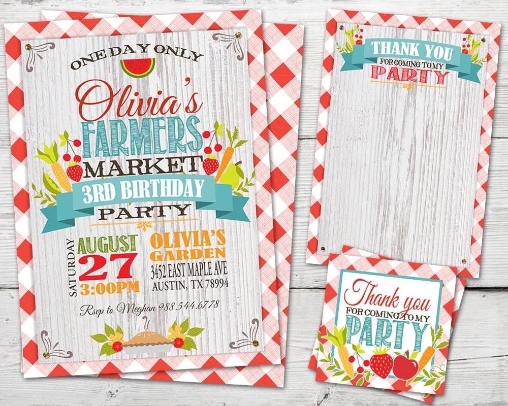 Vintage Farmers Market Birthday Invitation, PRINTABLE, Digital Farm