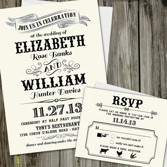 25 Printed Vintage Chic Wedding Invitation Set with RSVP card Etsy