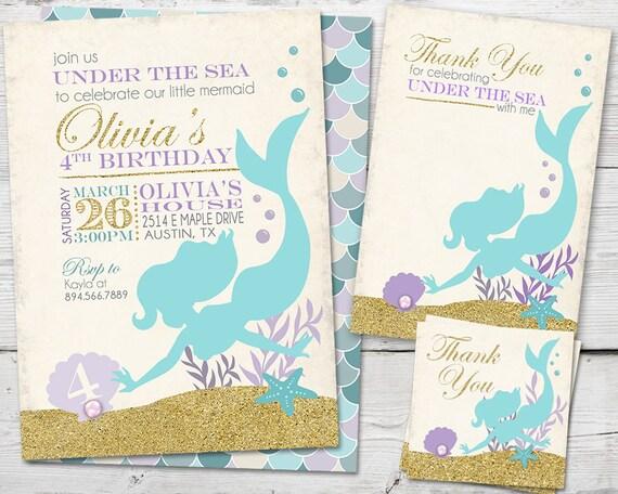 Mermaid Invitation, Mermaid Party, Mermaid Birthday Invitation