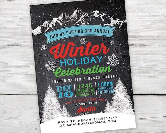 Winter Holiday Party Invitations, Winter Party Invitation, Holiday