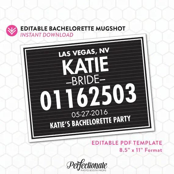 DIY Bachelorette Mugshot Sign Template Unlimited Personal Etsy