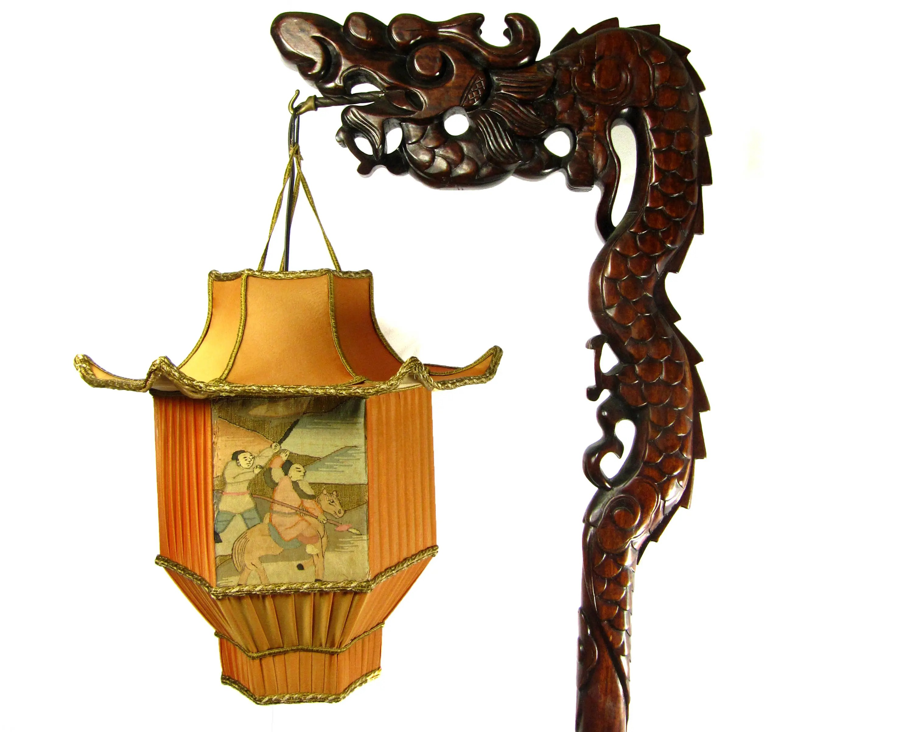 Dragon Lamps For Sale Chinese Dragon Lamp Wood Floor Carved With Custom Pagoda Shade 1920s Antique
