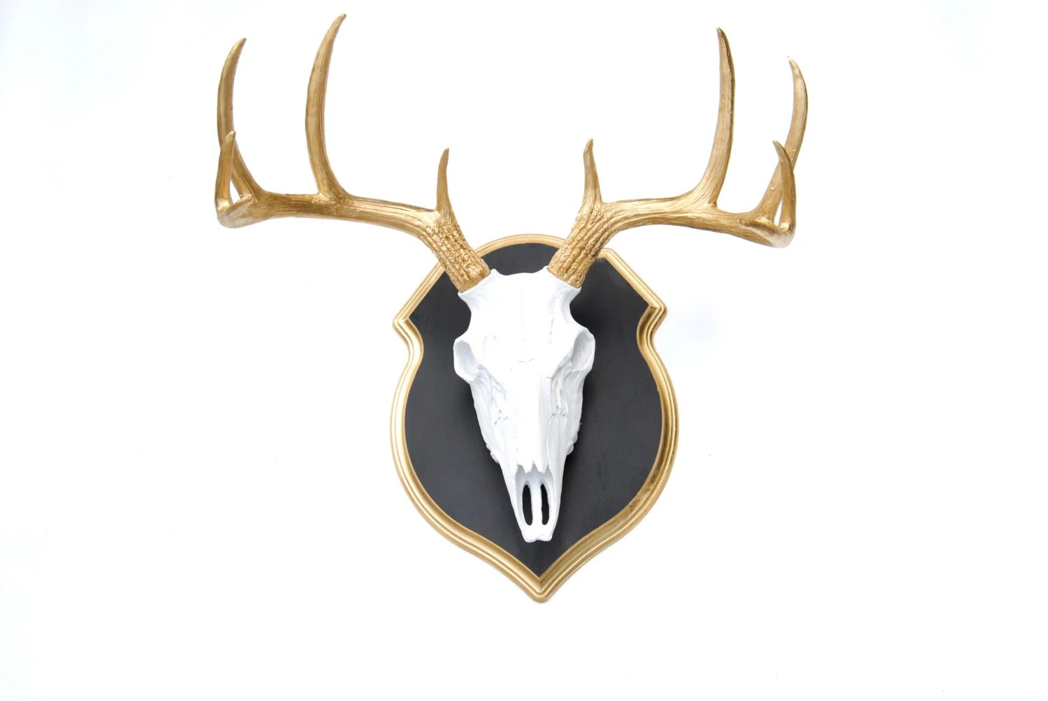 Fake Deer Skull And Antlers Faux Taxidermy White Deer Skull Gold Antlers Wall Mount Etsy