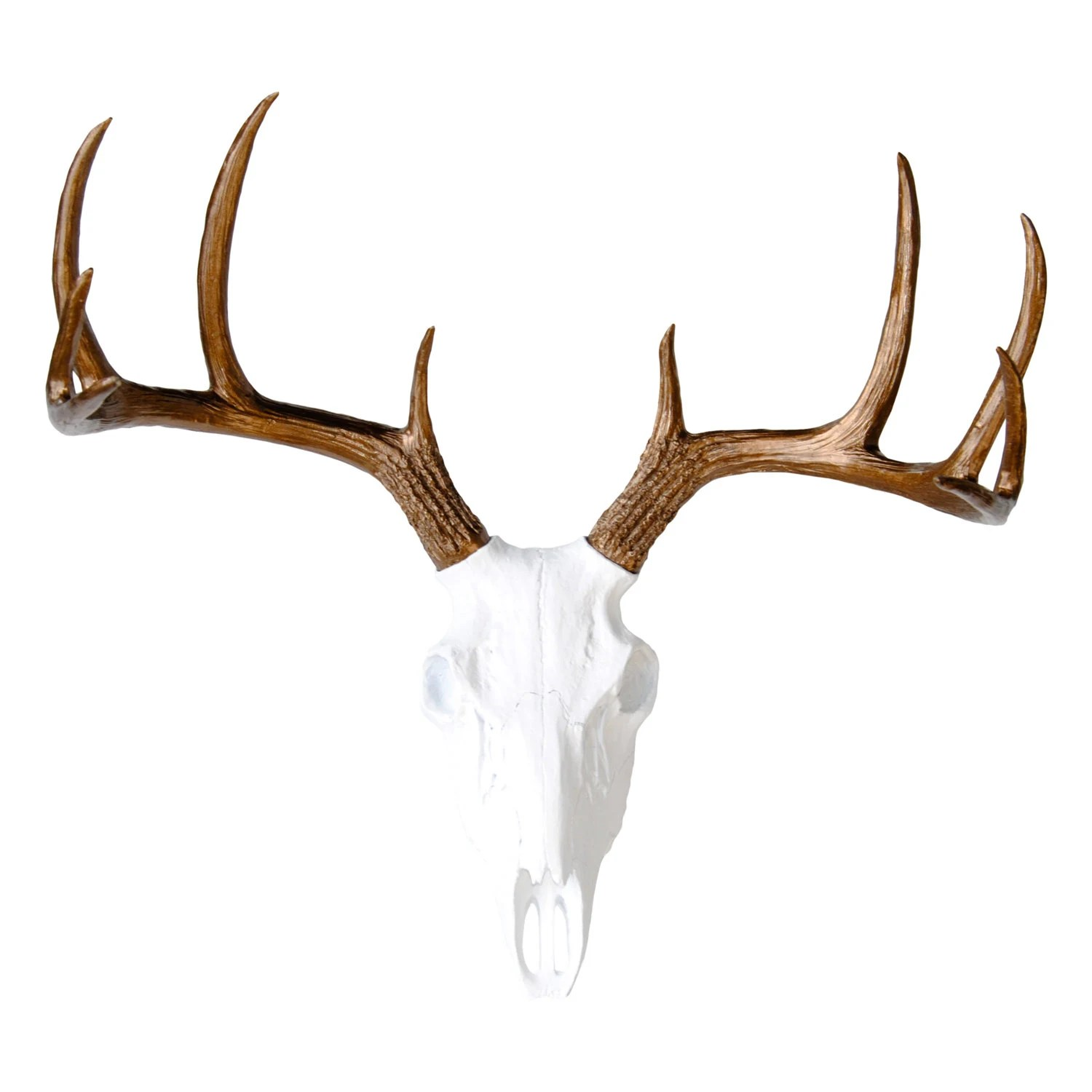 Fake Deer Skull And Antlers Faux Taxidermy White Deer Skull Bronze Antlers Wall Etsy