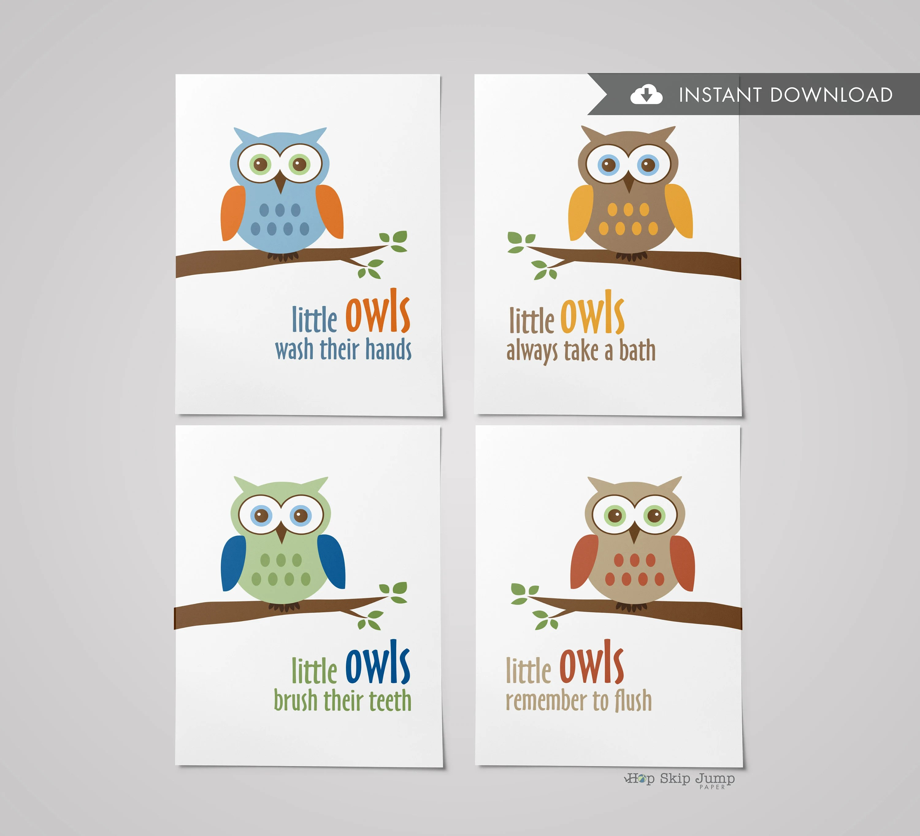 Instant Download Set of Four Printable Boy Owl Bathroom Etsy