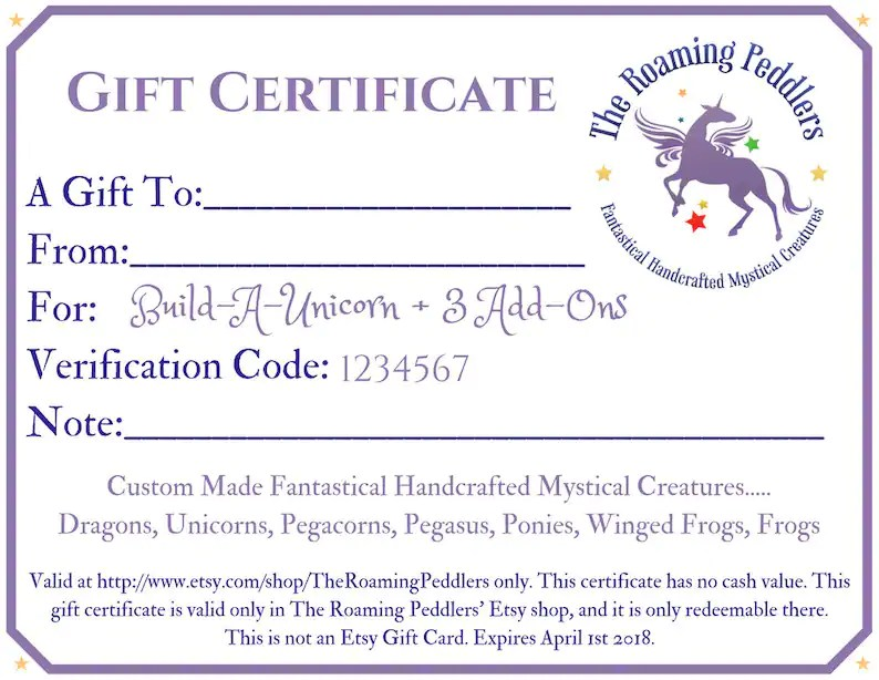 Gift Certificate for Build-A-Unicorn Custom Build Your Own Etsy