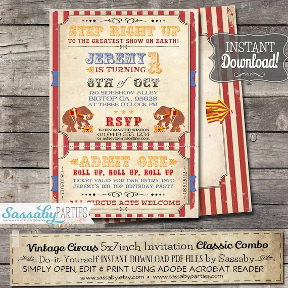 Vintage Circus Invitation - INSTANT DOWNLOAD - partially Editable