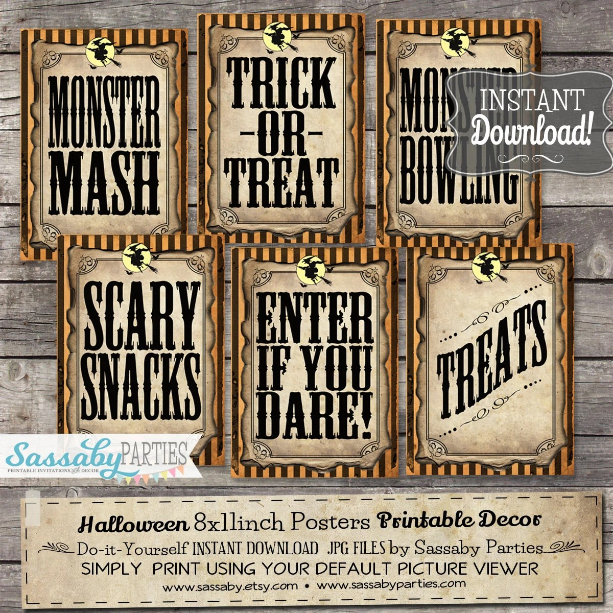 Halloween Party/Game Signs - INSTANT DOWNLOAD - Trick or Treat