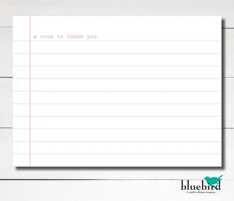 A6 Notepaper thank you flat card note Loose leaf paper Etsy