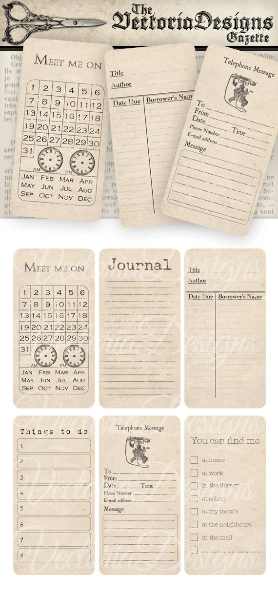Organizing Printable journal Cards Shabby Chic printable gift tags