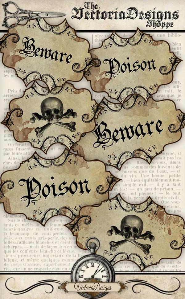 Halloween Poison Labels grunge printable decor decoration scrapbook