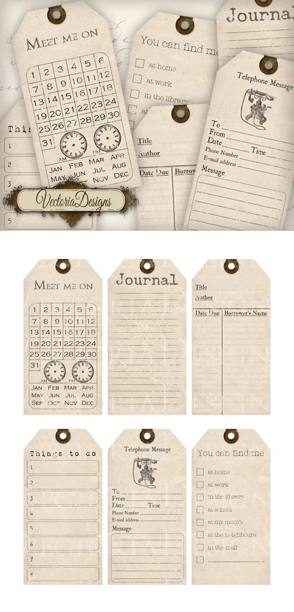 Organizing Printable journal Tags journaling shabby chic cards