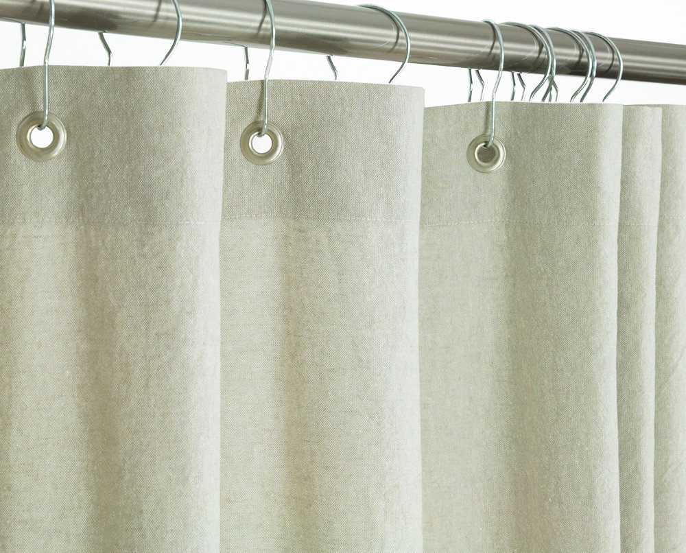 108 Inch Wide Shower Curtain Extra Wide Beige Linen Shower Curtain Grommets 108