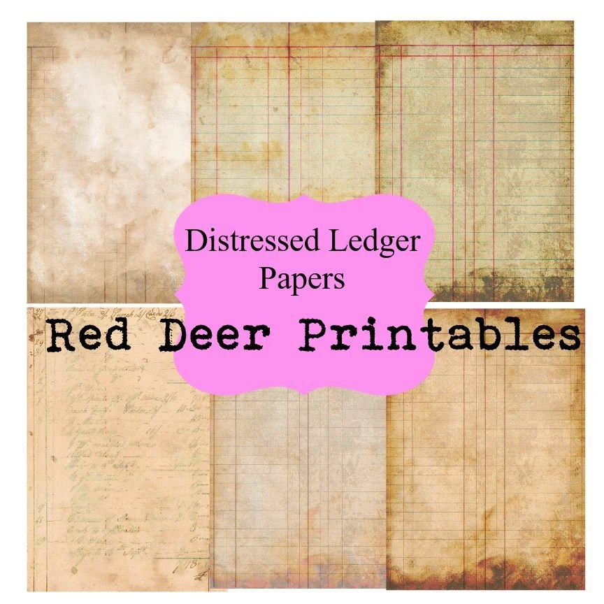 Distressed Ledger Paper junk journal pages printable A4 paper Etsy