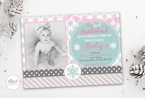 Onederland Birthday Invitations Winter Birthday Invitations Etsy