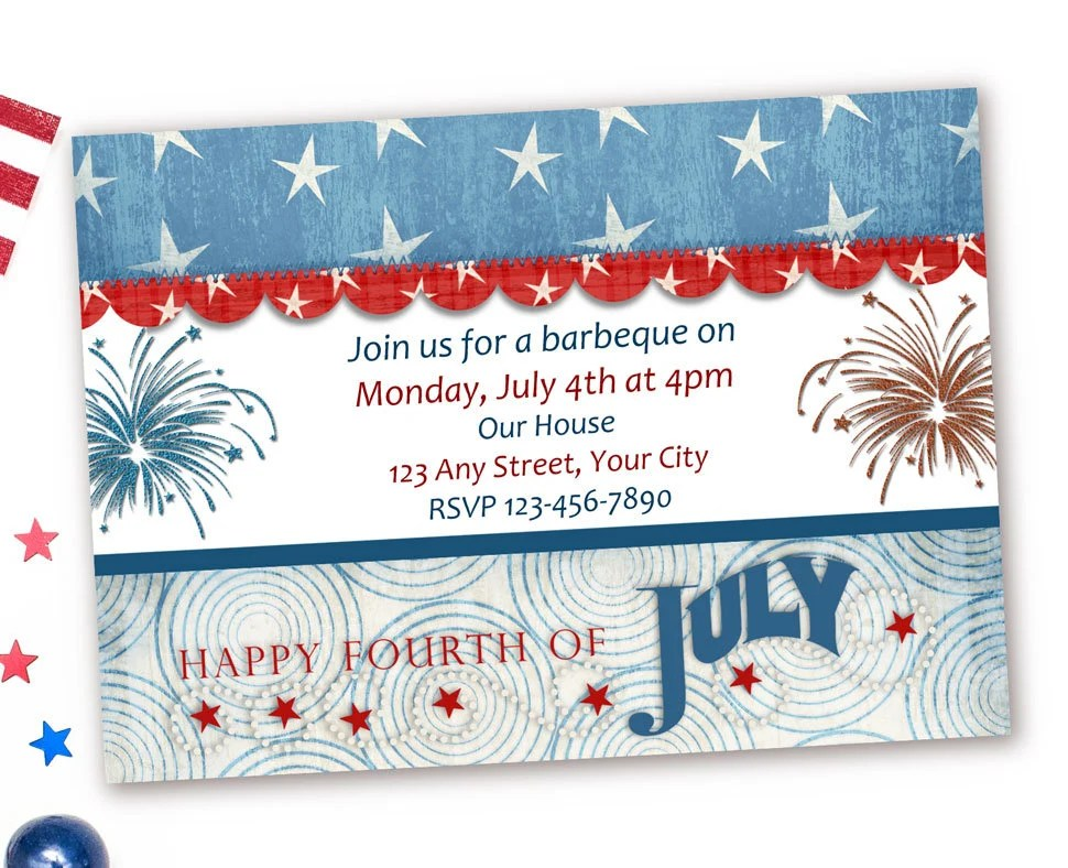 Red White and Blue Invitations 4th of July Birthday Etsy