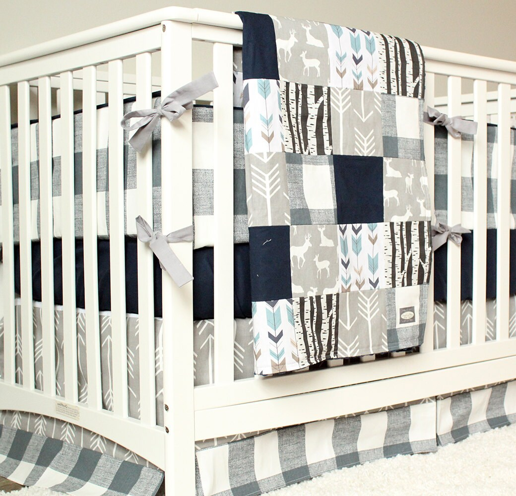 Full Crib Bedding Sets Woodland Nursery Bedding Set Deer Crib Bedding Navy Blue Gray Arrow Plaid Baby Boy Crib Bedding