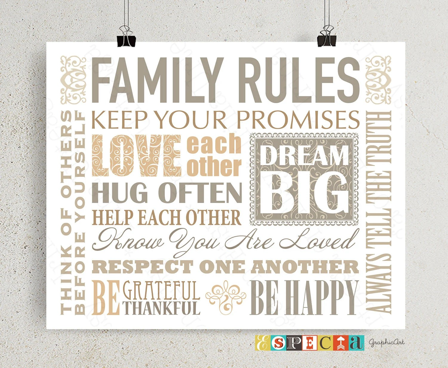 Family rules PRINTABLE House rules poster inspirational Etsy