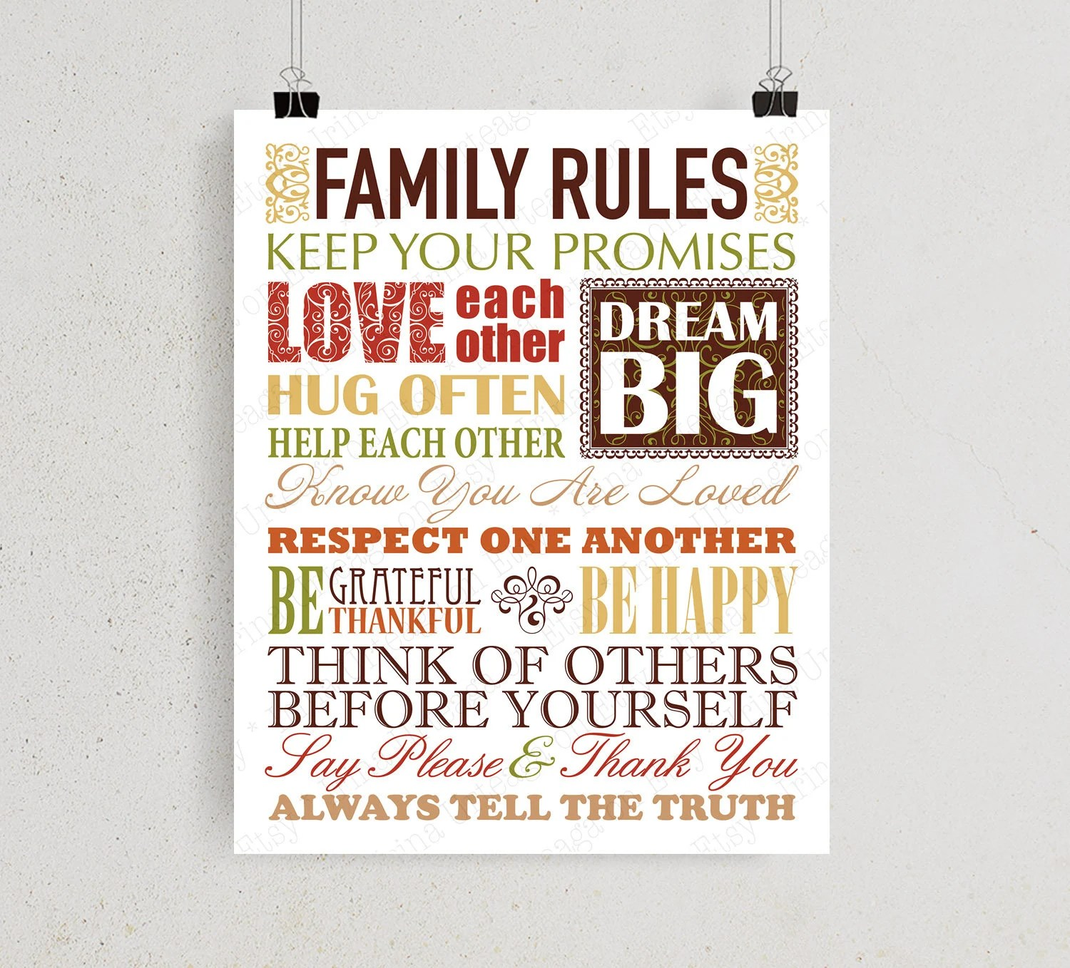 Family Rules printable wall art House rules print 8x10 and Etsy