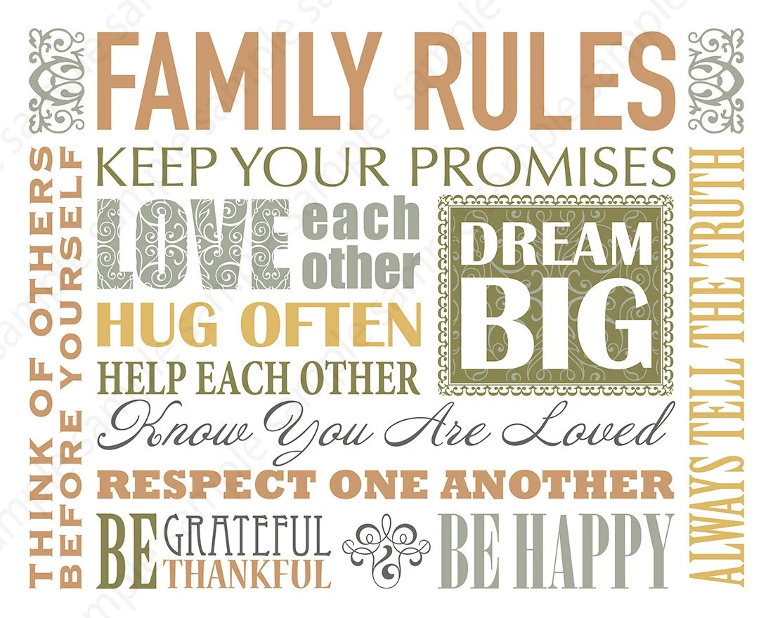 Printable Family rules sign digital download Christian quotes Etsy