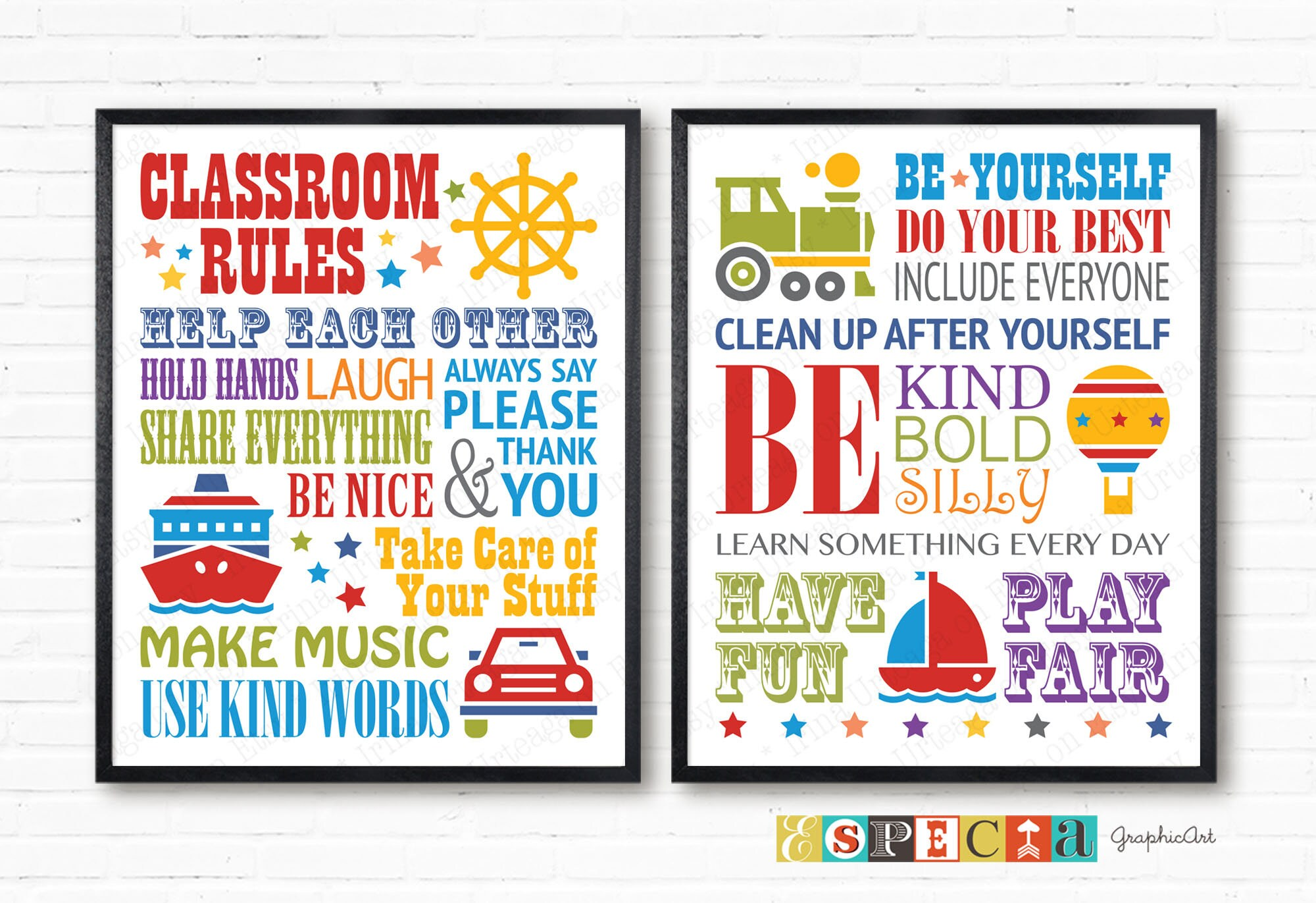 Art Decoration Class Classroom Rules Printable Art For School Students Kindergarten Or Daycare Set Of 2 Kids Play Area Signs Class Decoration Print 8x10 11x14