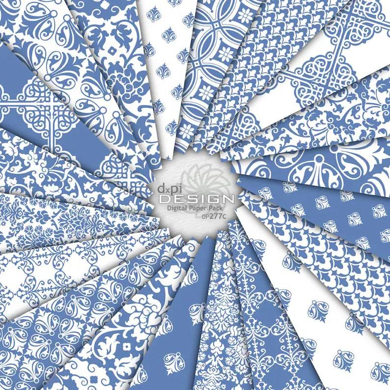 French Blue Damask Digital Paper  Printable Backgrounds Etsy