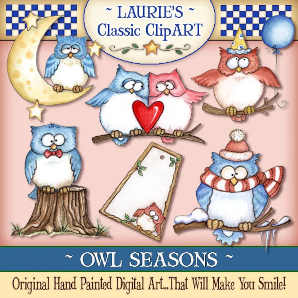 Owl Digital Art Owl clipart Laurie Furnell owl printable Etsy