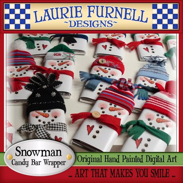 Snowman Candy Bar Wrapper Laurie Furnell printables holiday Etsy