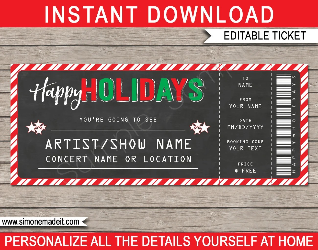 Printable Concert Ticket template - Holiday Gift - Surprise Show