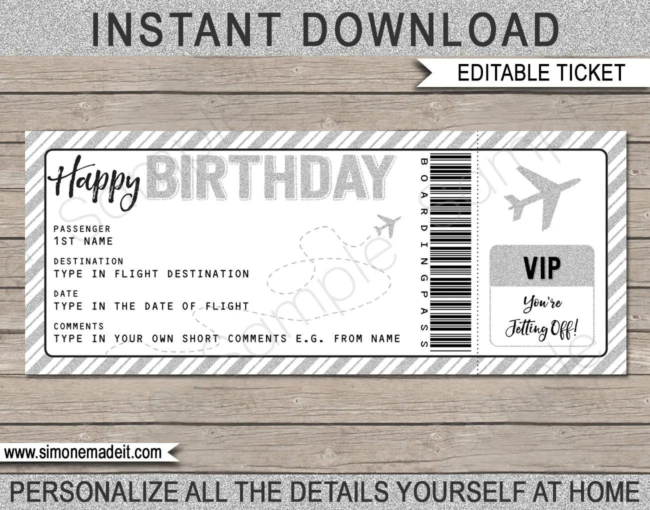 Birthday Gift Airplane Ticket Printable Boarding Pass Etsy