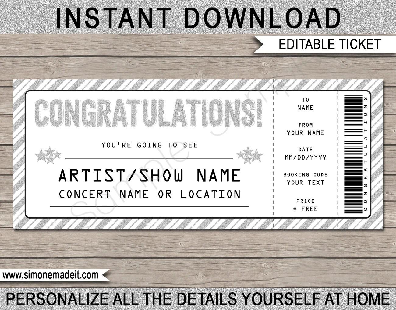 Congratulations Gift Concert Ticket - Printable Gift Voucher