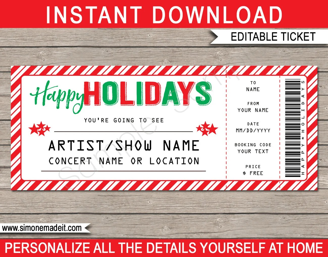 Concert Ticket template - Printable Holiday Gift - Surprise Show