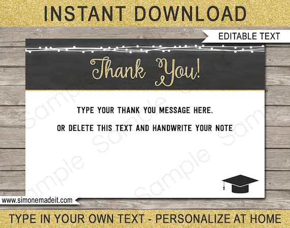 Graduation Thank You Cards - Printable Thank You Notes for