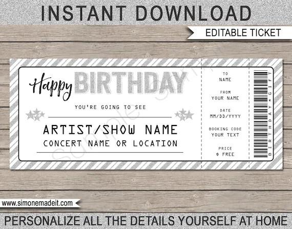 Birthday Gift Concert Ticket Printable Gift Voucher Etsy