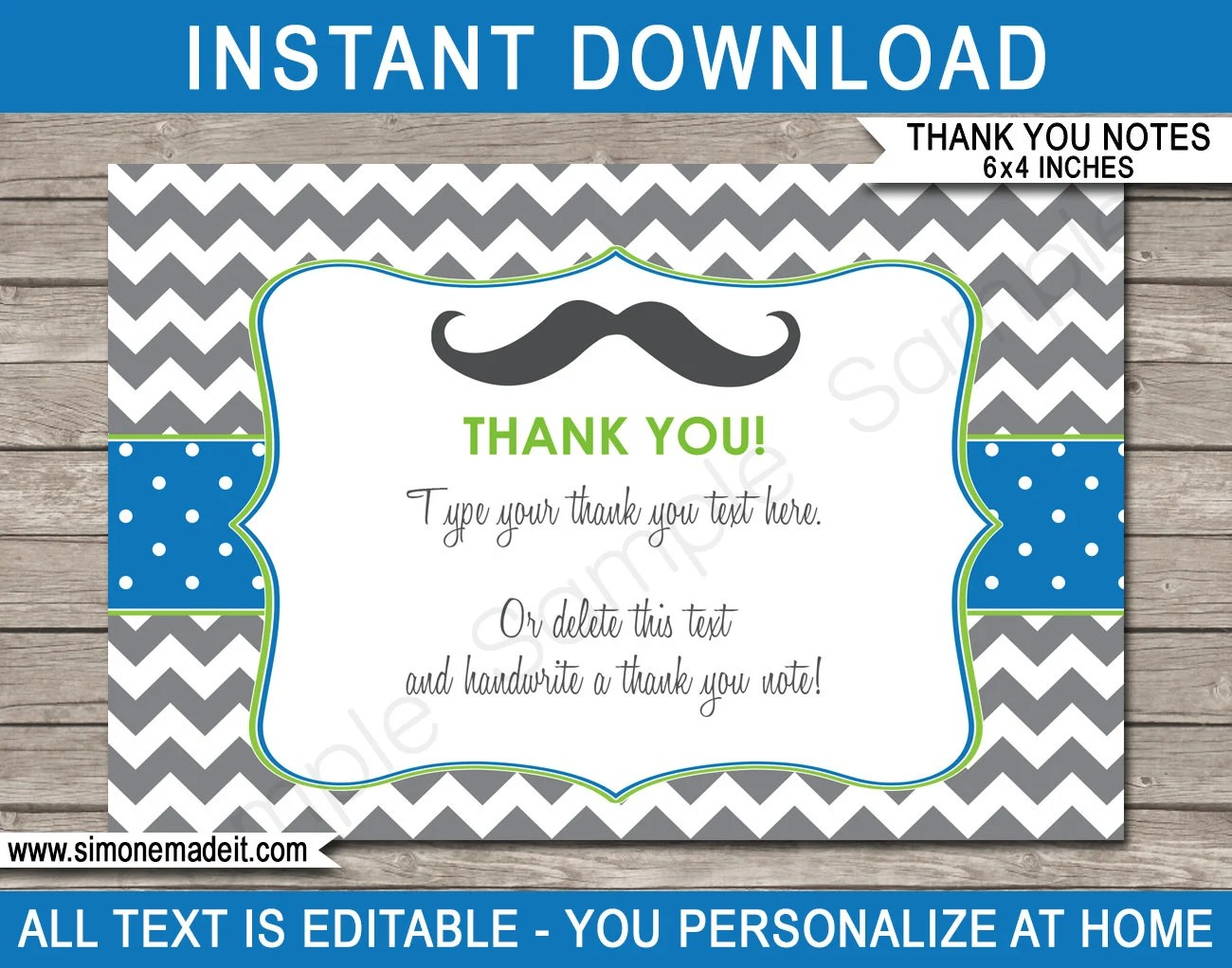 Mustache Party Thank You Cards - Printable Thank You - Little Man