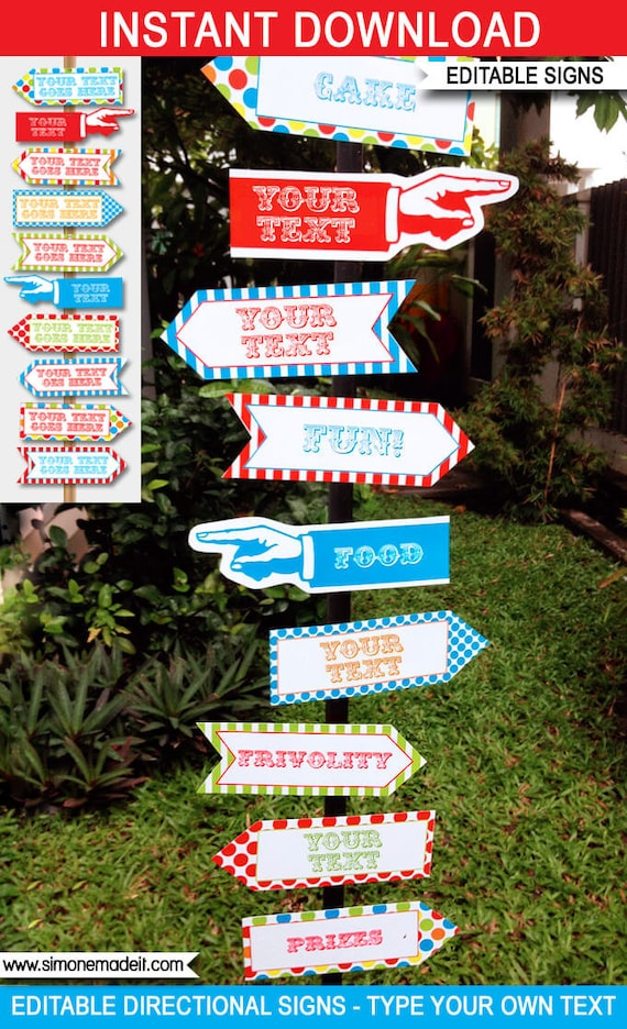 Carnival Signs - Direction Arrows - Carnival Party Decorations