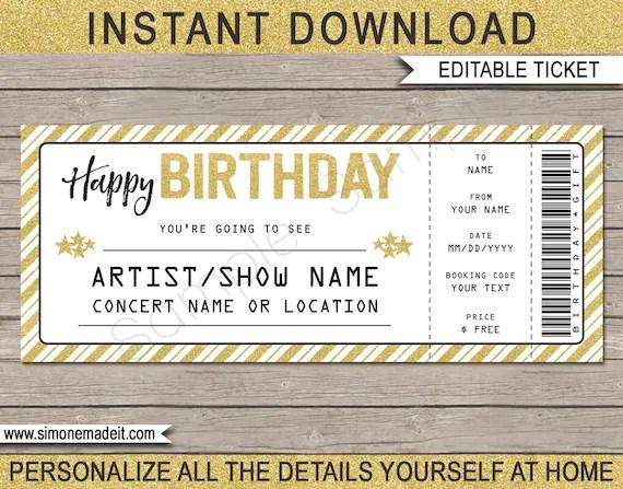 Concert Ticket Birthday Gift - Printable template - Surprise Concert