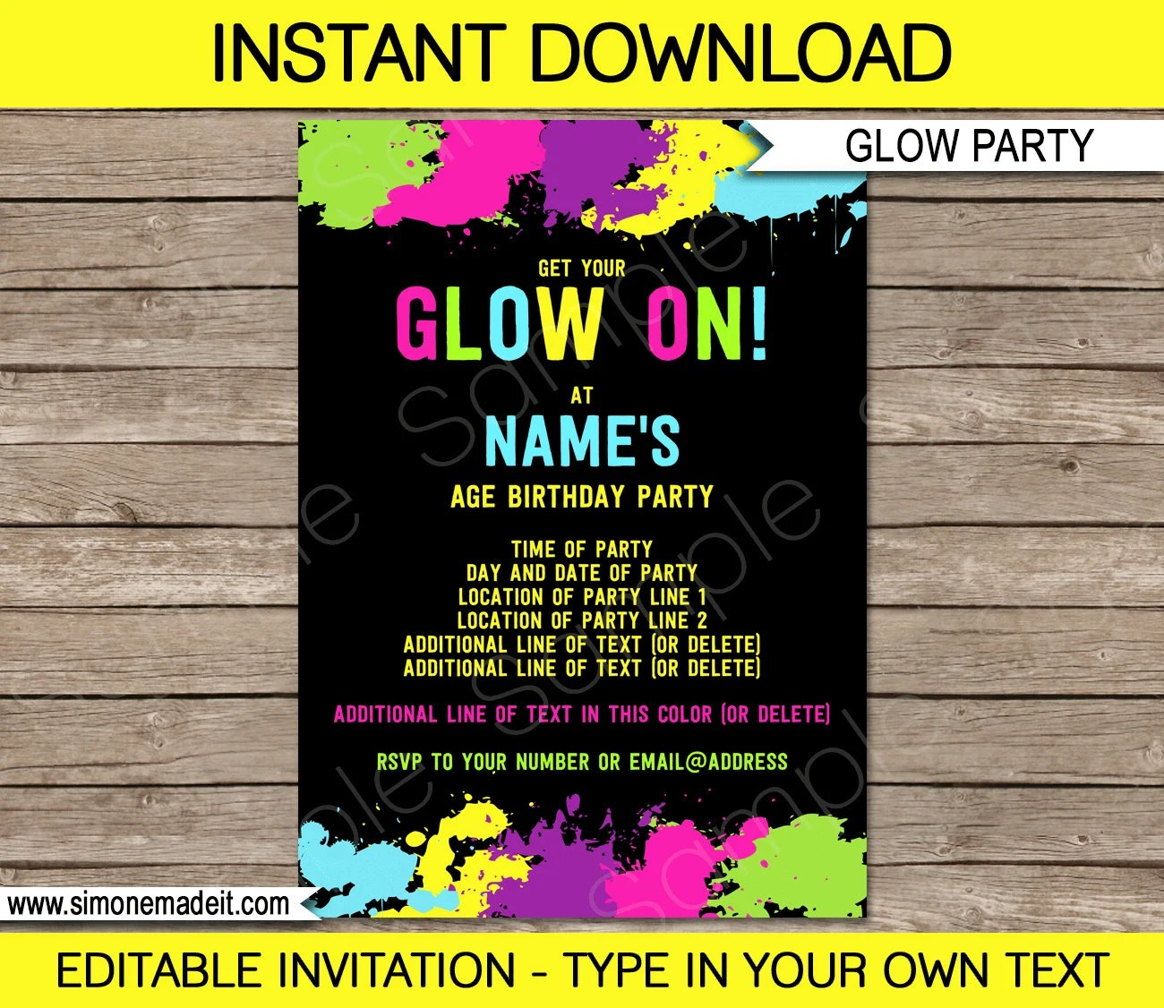 Glow Party Invitation Template - Neon Glow Theme Birthday Party