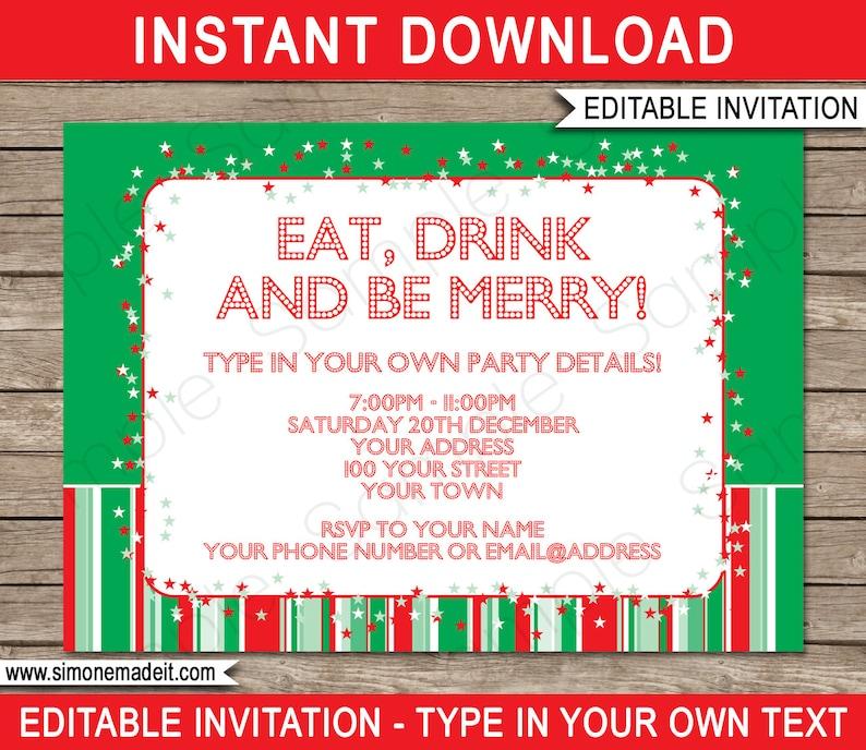 Christmas Invitation Template Christmas Party Invitation Etsy