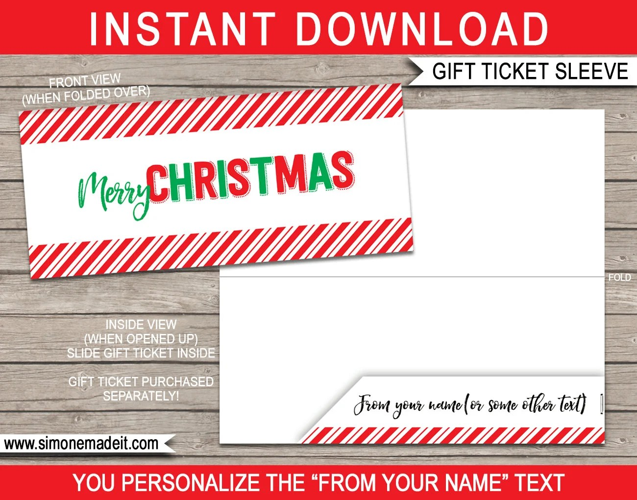 Printable Sleeve / Envelope for Christmas Gift Tickets Vouchers Etsy
