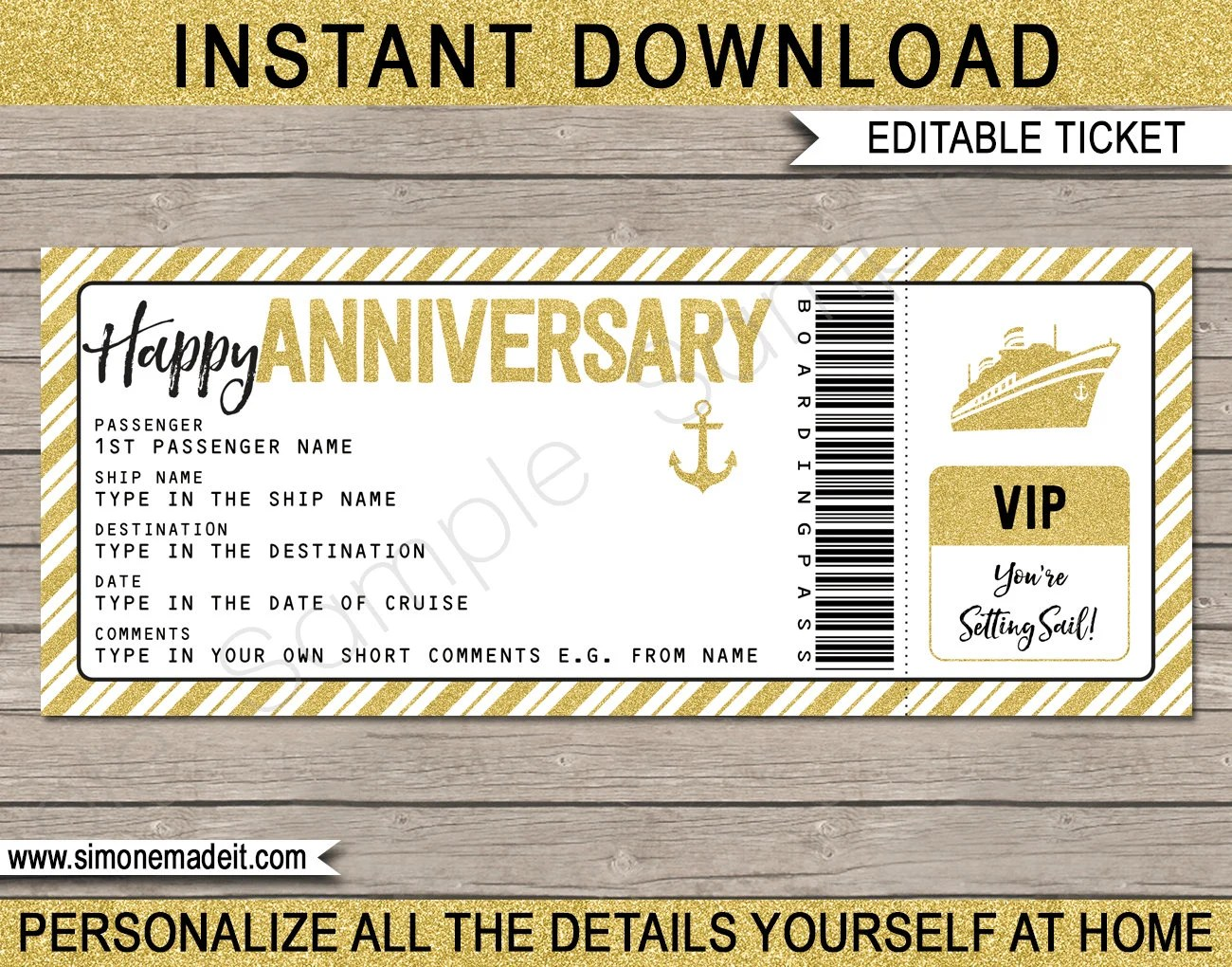 Cruise Ticket Anniversary Gift - Printable Boarding Pass template