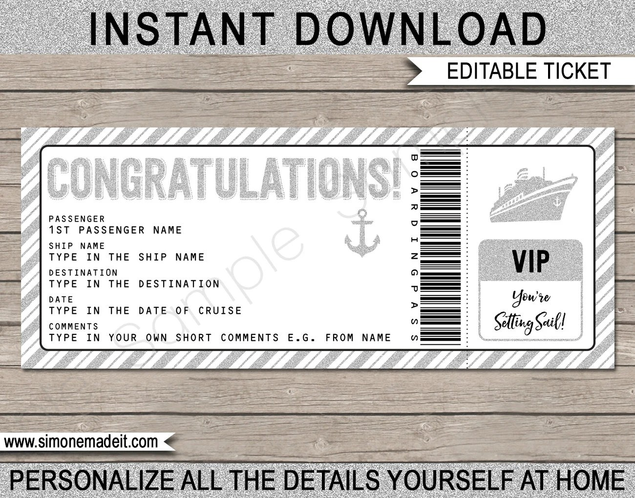 Congratulations Gift Cruise Ticket - Boarding Pass - Printable Gift