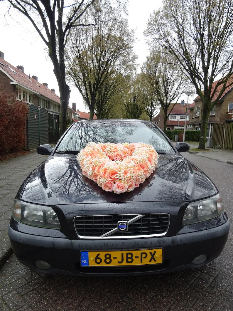 Car Decoration Weding Wedding Car Decoration Jumbo Heart Of Pink Silk Roses And Baby Breath