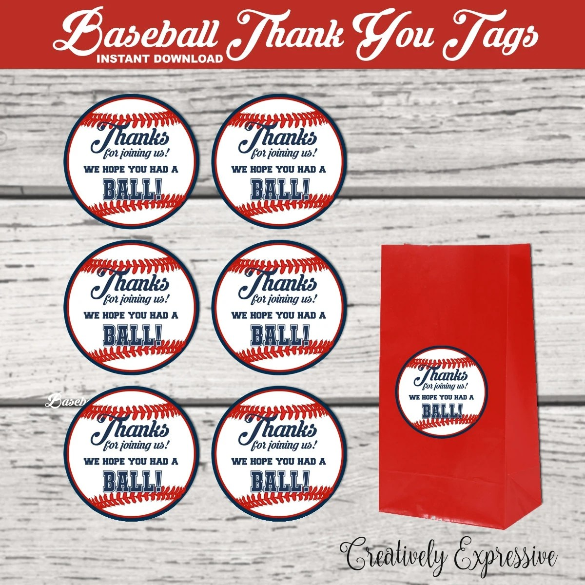 Baseball Party Baseball Thank You Tags Baseball Party Favor Tags